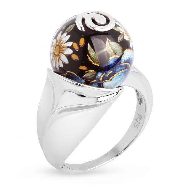 Купить Серебряное кольцо с акрилом JSR0228-2, Японские цветы