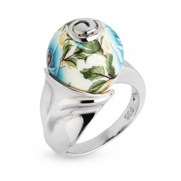 Купить Серебряное кольцо с акрилом JSR0228-3, Японские цветы