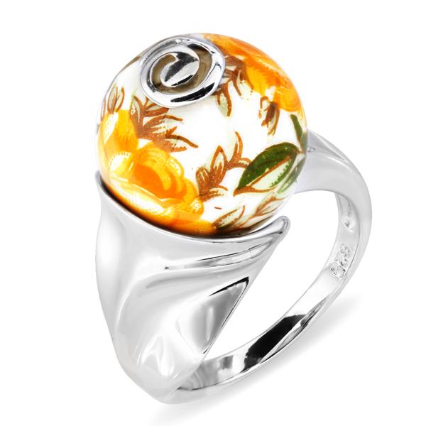 Купить Серебряное кольцо с акрилом JSR0228-4, Японские цветы