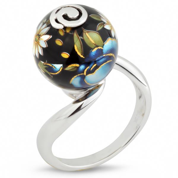 Купить Серебряное кольцо с акрилом JSR0229-1, Японские цветы