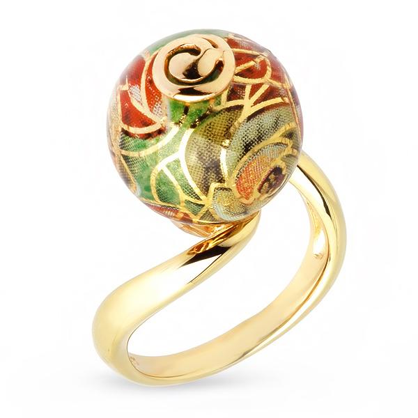 Купить Серебряное кольцо с акрилом JSR0229-3, Японские цветы