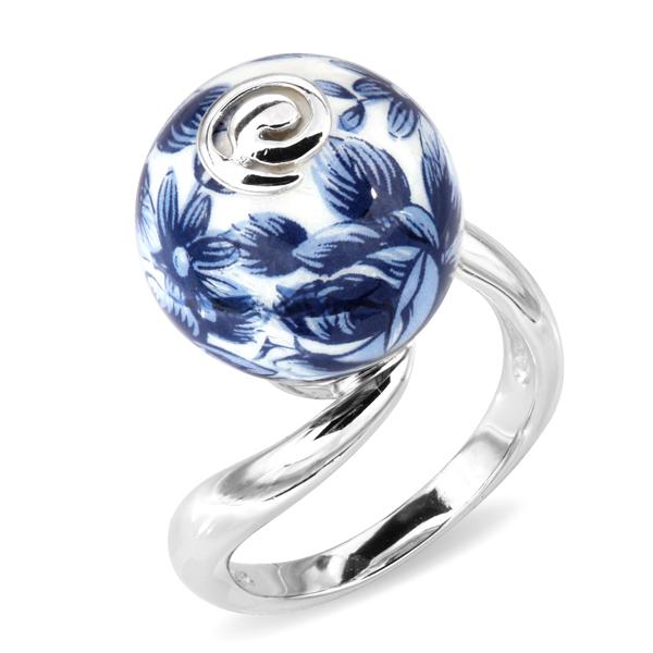 Купить Серебряное кольцо с акрилом JSR0229-4, Японские цветы