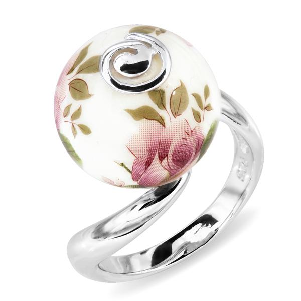 Купить Серебряное кольцо с акрилом JSR0229-5, Японские цветы