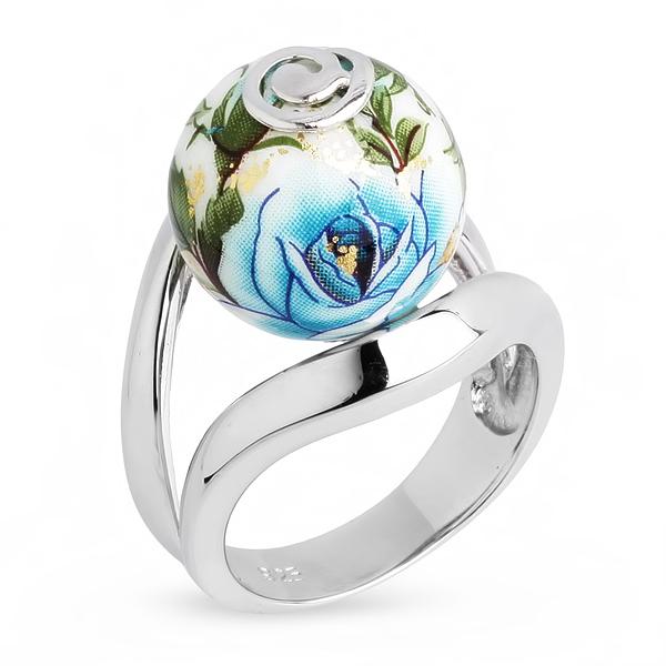 Купить Серебряное кольцо с акрилом JSR0383-1, Японские цветы