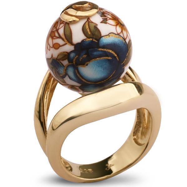 Купить Серебряное кольцо с акрилом JSR0383G, Японские цветы