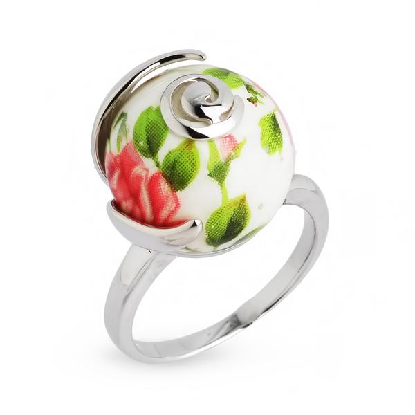 Купить Серебряное кольцо с акрилом JSR041, Японские цветы