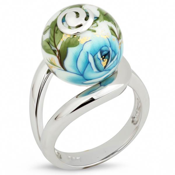 Купить Серебряное кольцо с акрилом JSR0533, Японские цветы