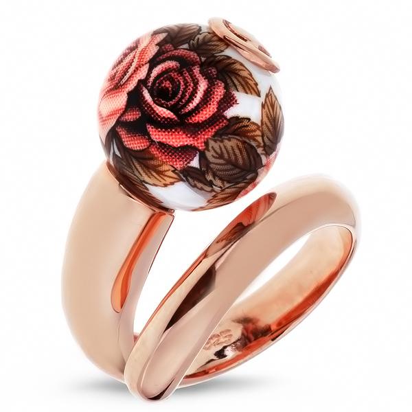 Купить Серебряное кольцо с акрилом JSR0699-2, Японские цветы