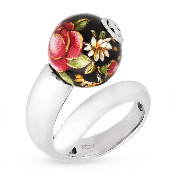 Купить Серебряное кольцо с акрилом JSR0699-3, Японские цветы