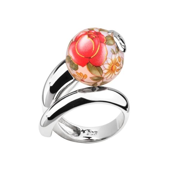 Купить Серебряное кольцо с акрилом JSR0699, Японские цветы
