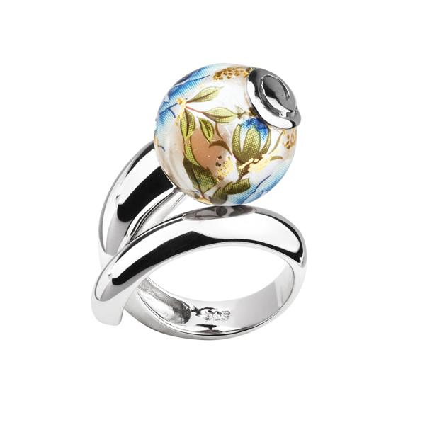 Купить Серебряное кольцо с акрилом JSR0734, Японские цветы