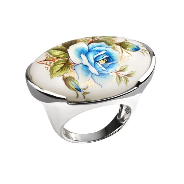Купить Серебряное кольцо с акрилом JSR0762B, Японские цветы
