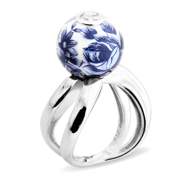 Купить Серебряное кольцо с акрилом JSR0767-1, Японские цветы