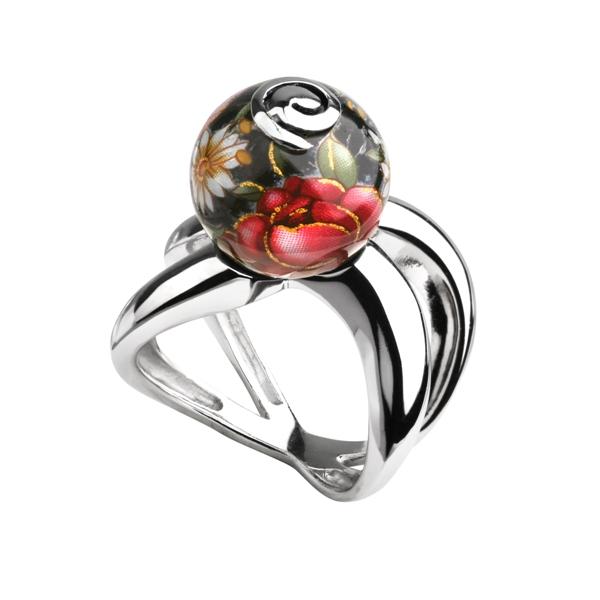 Купить Серебряное кольцо с акрилом JSR0767, Японские цветы