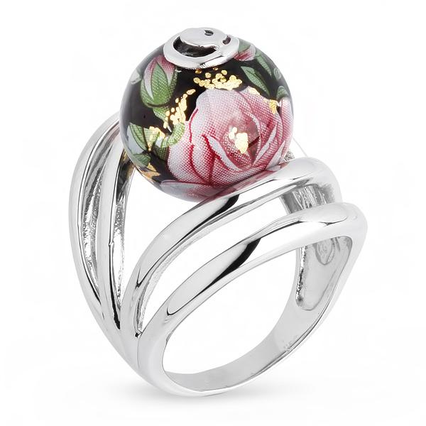 Купить Серебряное кольцо с акрилом JSR0769-2, Японские цветы