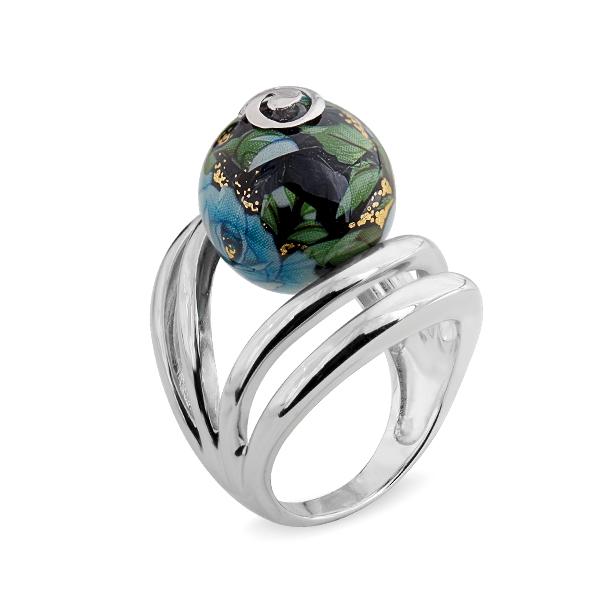 Купить Серебряное кольцо с акрилом JSR0769-3, Японские цветы