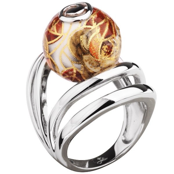 Купить Серебряное кольцо с акрилом JSR0769, Японские цветы