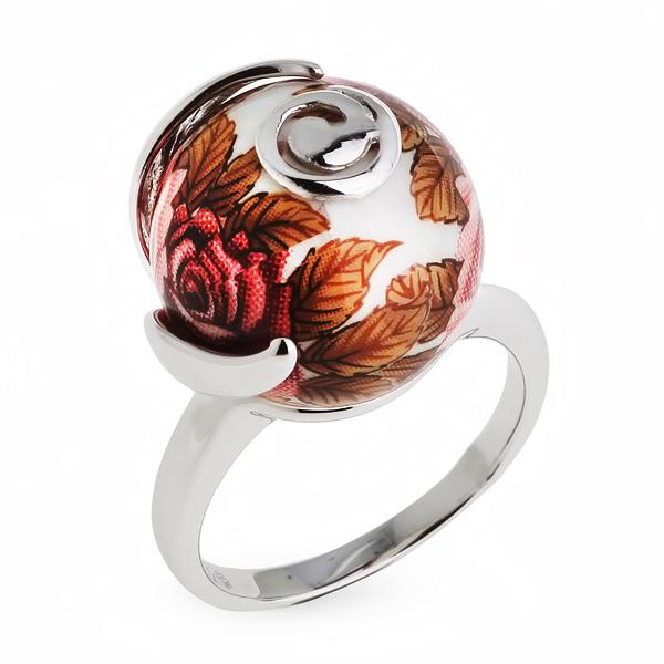 Купить Серебряное кольцо с акрилом JSR1171-1W, Японские цветы