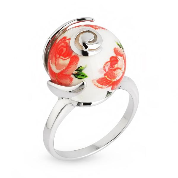 Купить Серебряное кольцо с акрилом JSR1171-4, Японские цветы