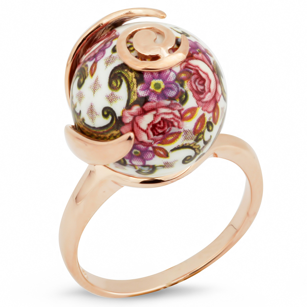 Купить Серебряное кольцо с акрилом JSR1171, Японские цветы