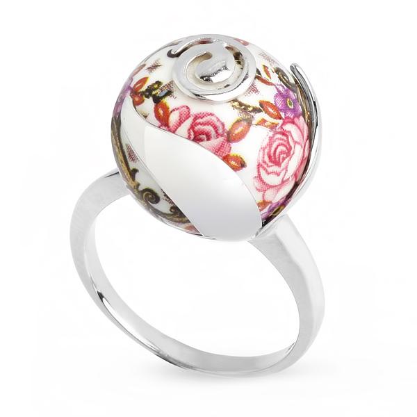 Купить Серебряное кольцо с акрилом JSR1171W, Японские цветы