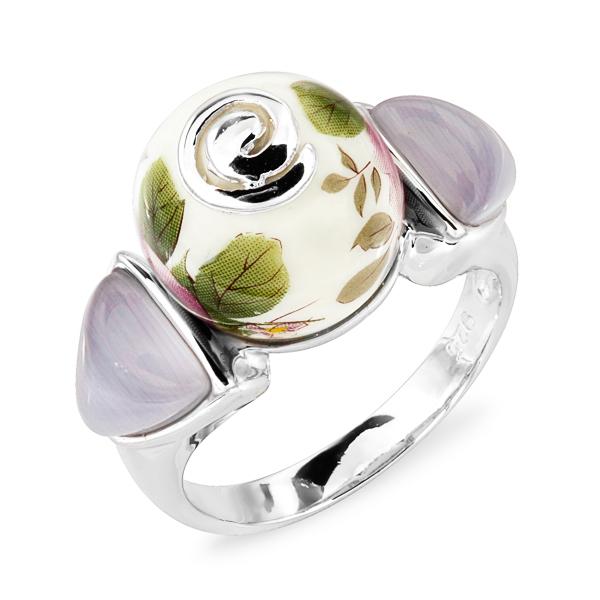 Купить Серебряное кольцо с акрилом и тигровым (кошачьим) глазом JSR1261, Японские цветы