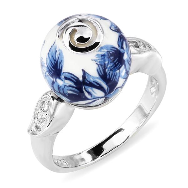 Купить Серебряное кольцо с акрилом и фианитами JSR1289, Японские цветы