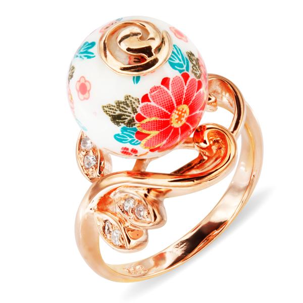 Купить Серебряное кольцо с акрилом и фианитами JSR1307-1, Японские цветы