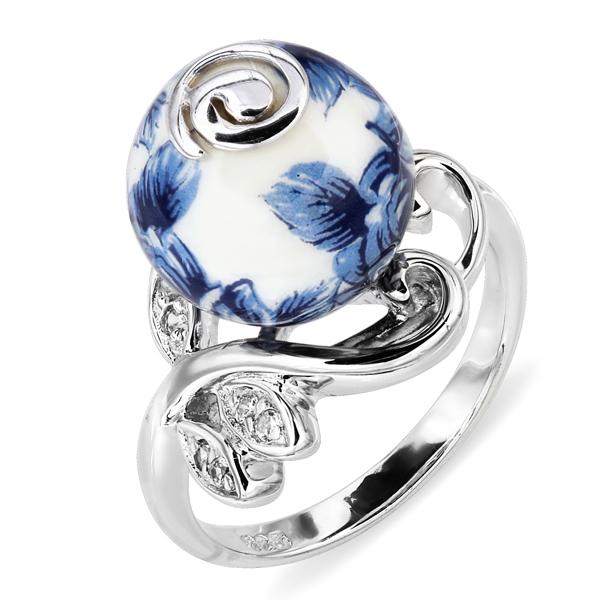 Купить Серебряное кольцо с акрилом и фианитом JSR1307, Японские цветы