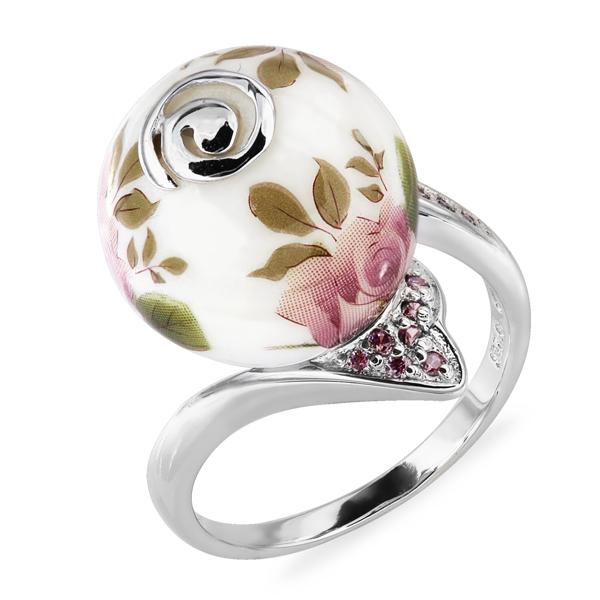 Купить Серебряное кольцо с акрилом и фианитом JSR1310-2, Японские цветы