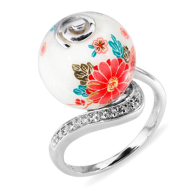 Купить Серебряное кольцо с акрилом и фианитом JSR1310, Японские цветы
