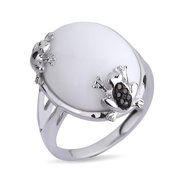 Купить Серебряное кольцо Joli с белым синт. агатом JSR251