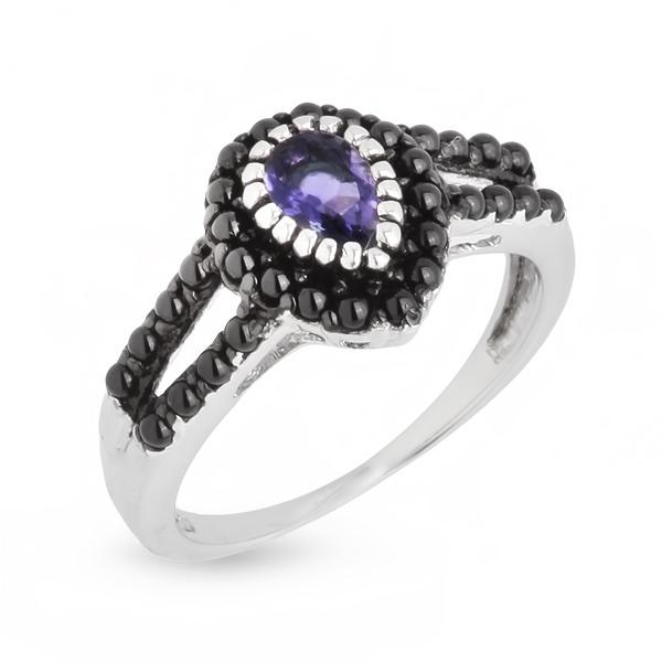Купить со скидкой Серебряное кольцо Sandara с иолитом и фианитами LGR032