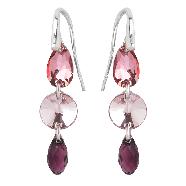 Купить со скидкой Серебряные серьги Monella с кристаллами Сваровски MOE010