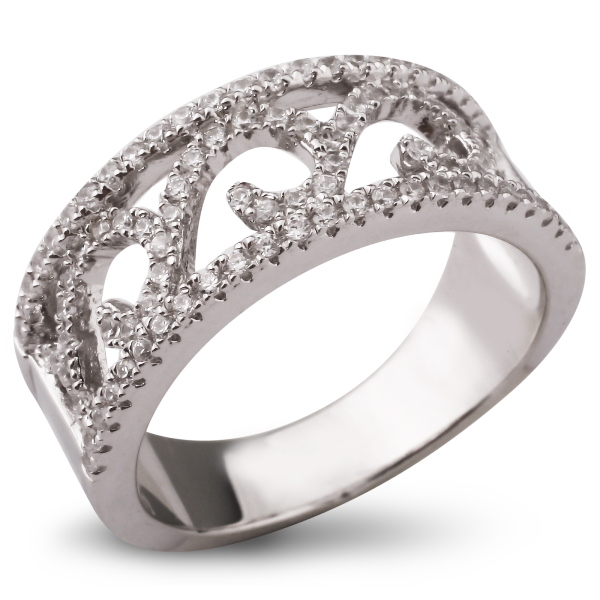 Ice Серебряное кольцо с бриллиантами и сапфирами (синтетич.), FC0C5X-YGR9, 16