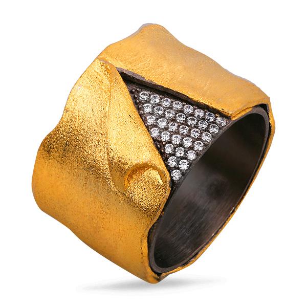 Купить Серебряное кольцо Sandara с фианитом и позолотой PDR016