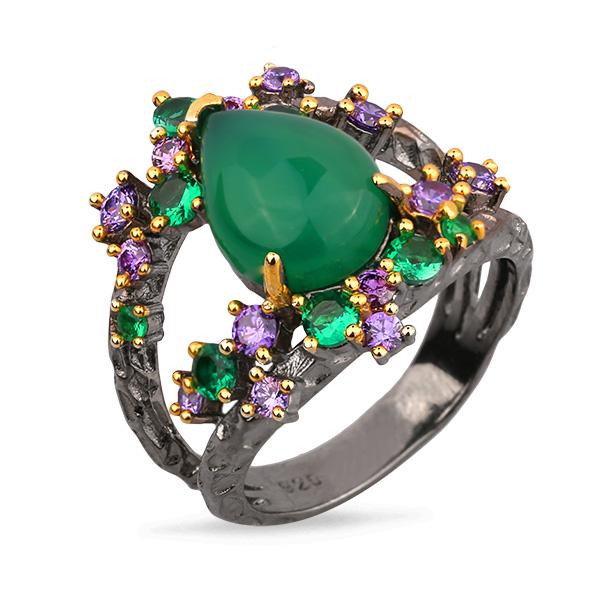 Купить Серебряное кольцо Sandara с зеленым агатом, шпинелью и цветными фианитами PDR037