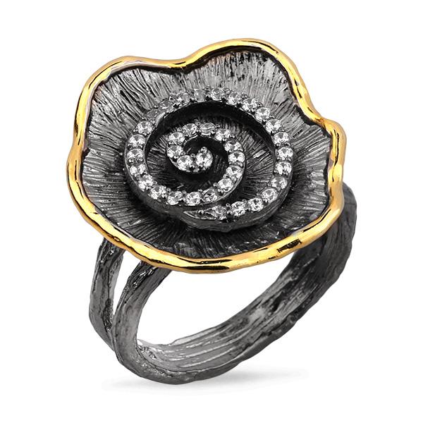 Купить Серебряное кольцо Sandara с фианитом и позолотой PDR073