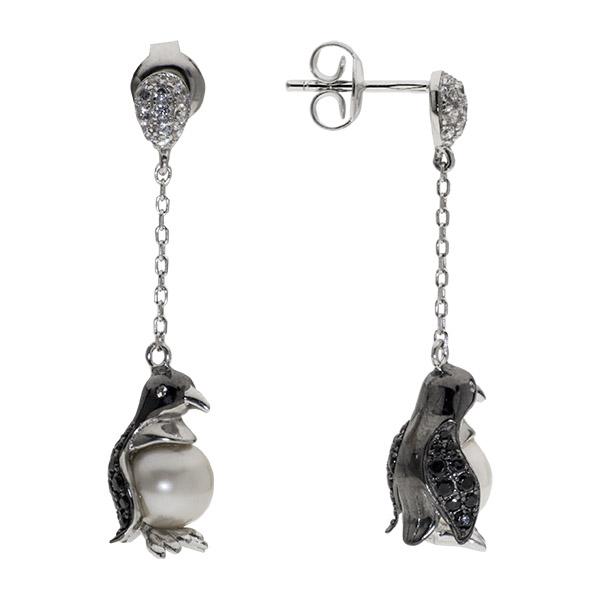 Купить Серьги из серебра 925 пробы De Luna с жемчугом, черными фианитами и эмалью PJE290