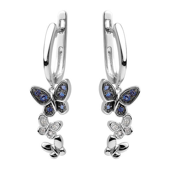 Купить Серебряные серьги Sandara Ice с белыми и синими фианитами PJE330