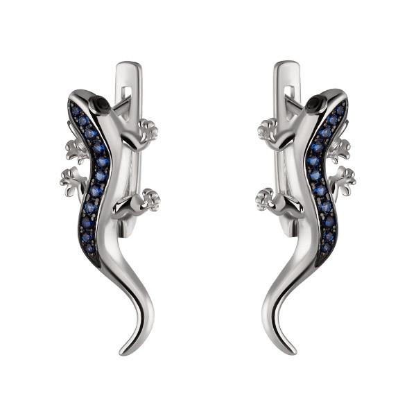 Купить Серебряные серьги Sandara Ice с синими фианитами и черным родированием PJE383