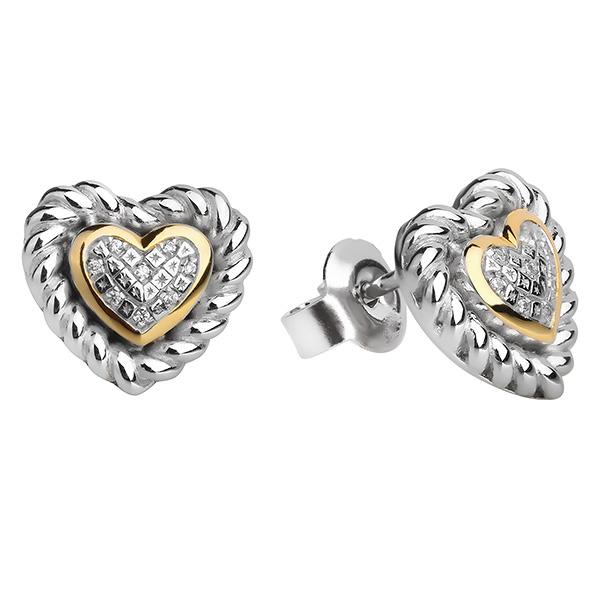 Серебряные серьги Sandara Ice с фианитом и позолотой PJE414  - купить со скидкой