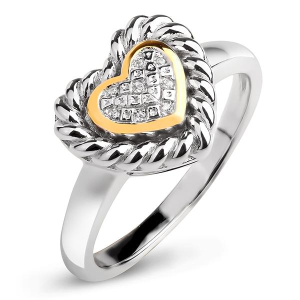 Купить Серебряное кольцо Sandara Ice с фианитом и позолотой PJR416
