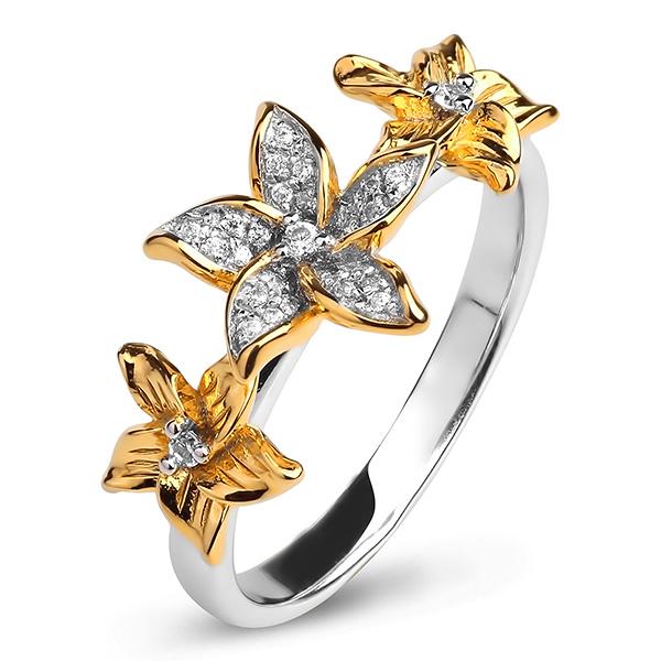 Купить Серебряное кольцо Sandara Ice с фианитом и позолотой PJR421