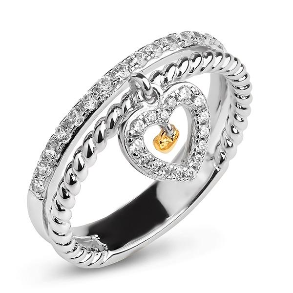 Купить Серебряное кольцо Sandara Ice с фианитом и позолотой PJR423
