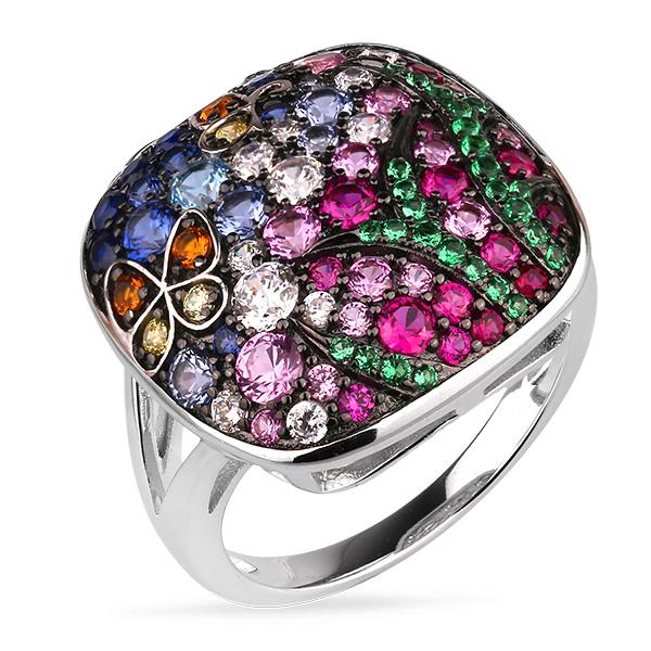 Купить Серебряное кольцо Sandara Ice с цветными фианитами и черным родированием PJR434
