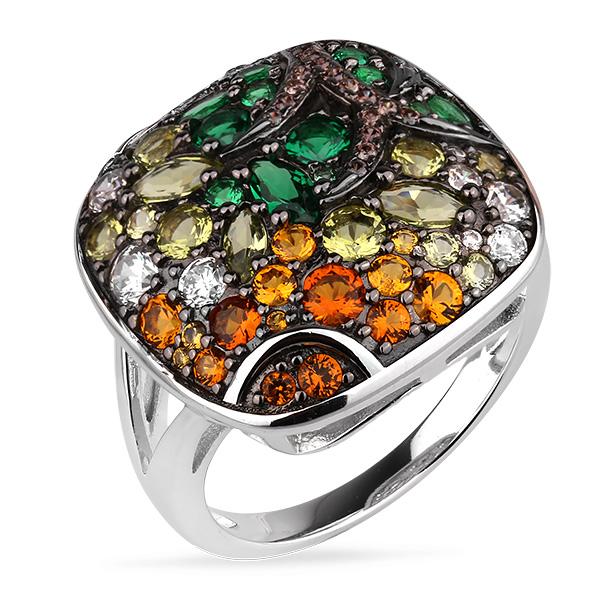 Купить Серебряное кольцо Sandara Ice с цветными фианитами и черным родированием PJR437