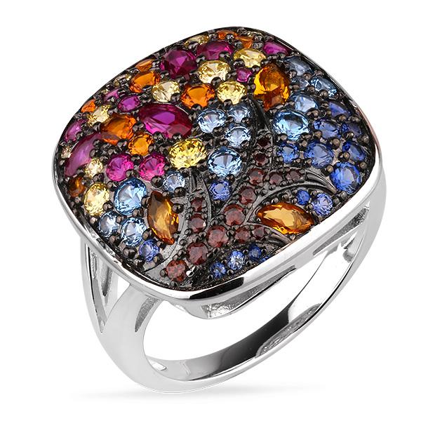 Купить Серебряное кольцо Sandara Ice с цветными фианитами и черным родированием PJR440