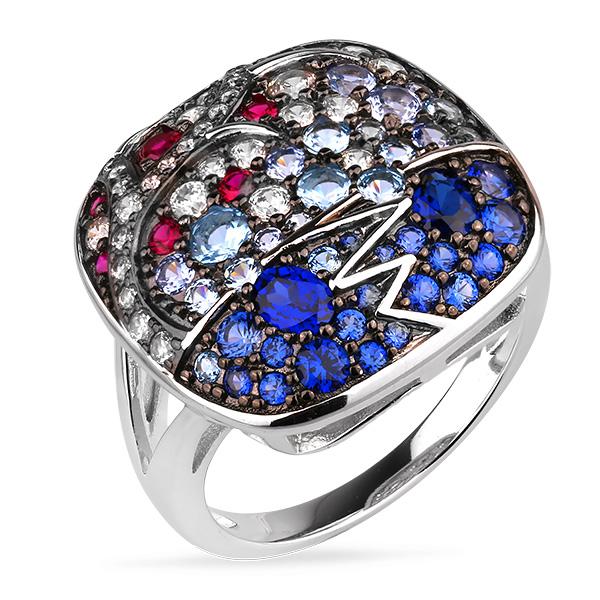 Купить Серебряное кольцо Sandara Ice с цветными фианитами и черным родированием PJR443