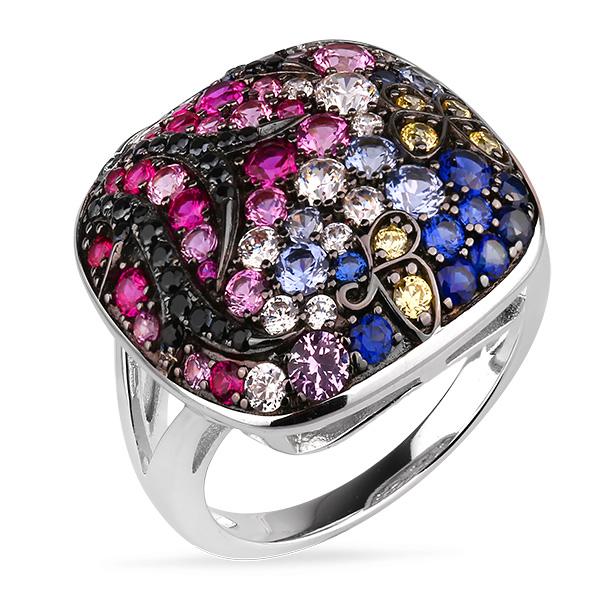 Купить Серебряное кольцо Sandara Ice с цветными фианитами и черным родированием PJR446
